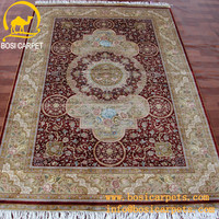5x7.5ft iranian red handmade silk carpet rug saudia araba factory cheap prices hot sale turkish turkey kilim silk red carpet