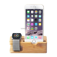 258-1 Watch Stand, Bamboo Wood Charging Stand Bracket Docking Station Cradle Holder for cell phone