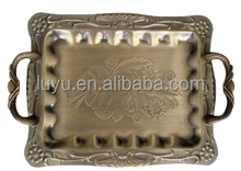 Stainless steel serving tray with handle