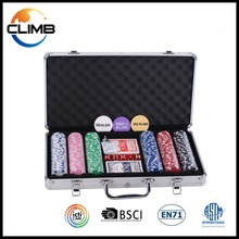 300poker chips set 13.5g deluxe poker chip game set design round with Aluminun Metal Case roulette chips set