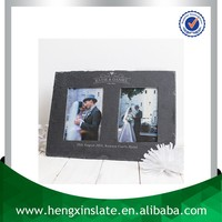 Factory Direct Price 37*26cm Handmade Decorative Customized Laser Design Natural Slate Double Wedding Photo Frame