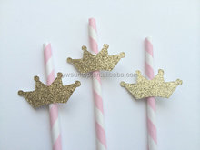 Pink Straw with Gold glitter decorative Crown Party Decoration
