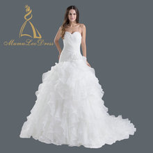 Cascading Strapless Organza Ruched Lace Up Fit And Flare Ruffle Skirt Long Tail Wedding Dress
