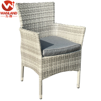 Outdoor synthetic rattan aluminum stacking chair with cushion