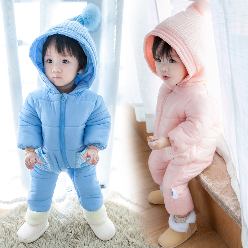 China Wholesale Infant warm thick Clothing Baby Winter Romper Solid Color Cotton Baby Romper
