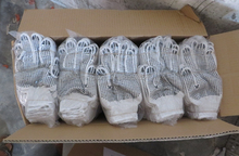 7/10 gauge bleached white PVC dotted cotton gloves driving farming useful working idustrial colored latex gloves