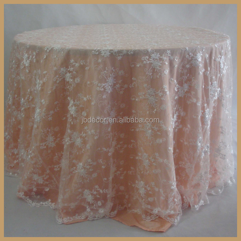 TL002P1(1) universal elegant party wedding table decoration white embroidered lace table cloth