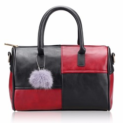 2016 New Women Handbag PU Leater Original Hit Color Messenger Bags Tote Fur Ball Shoulder Bag Fashion