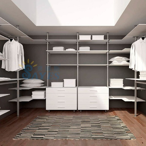 Wholesale walk in wardrobe bedroom furniture wood with pole
