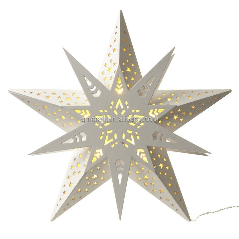 Christmas Decoration Hanging White Wooden Star with LED marquee