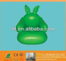 green rabbit-shaped pvc inflatable adult single seat sofa