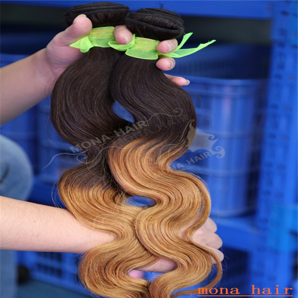 High quality brazilian hair weft two tone ombre hair