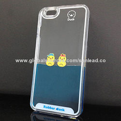 [SANLEAD]Dynamic couple lovely ducks liquid cover for iPhone 6 plus