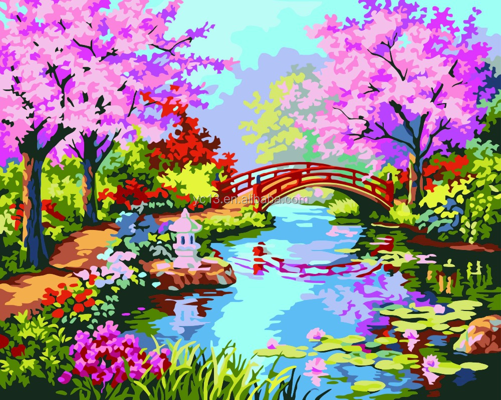 chinese landscape picture of DIY painting by numbers