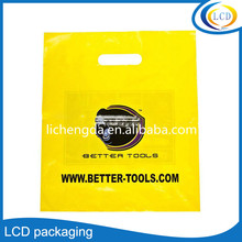 Custom print promotional plastic die cut/punch bag for gift/ shopping/ garment/ shoes/electronic parts