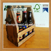 2016 year hot selling FSC 6 pack wooden beer wine box tote carrier bucket with can bottle opener