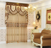 luxury 2016 America style Linen embroidery window curtain drapes