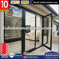 GUANGZHOU TOP QUALITY ALUMINUM FRAME HINGED DOOR EXTERIOR METAL FRENCH DOORS