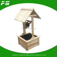 Patio Decorative Garden Natural Wood Wishing Well Flower Planter