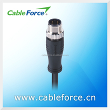 Waterproof connector M12 4 pin male A Coding connector Straight Molded with EMI Shielded Cable socket connector
