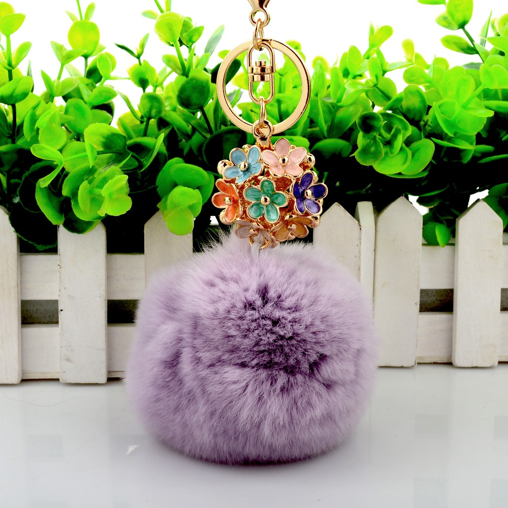 Flower Ball Key Chain Real Fur Ball with Alloy for Womens Bag or Cellphone or Car Pendant