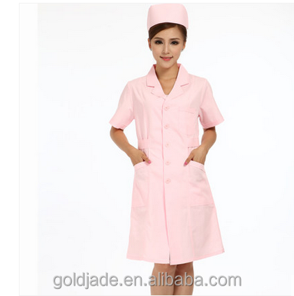 OEM fashionable pink female nurse uniform designs