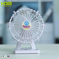 Fashionable Design White Ferris Wheel Shaped Electric Table Fan For Travel