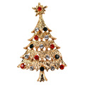 Christmas Tree Brooch Pin w Crystal