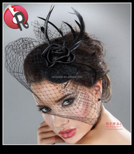 Feather Big Bow Hair Clips Black Mini Top Hat Burlesque Fancy Dress
