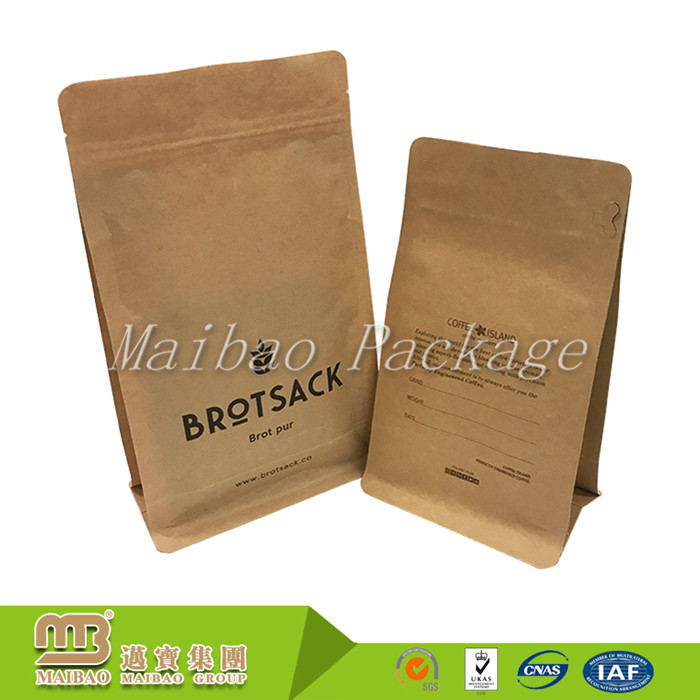Custom Logo Printed Food Grade Coffee/Snack Packaging Flat Bottom Kraft Paper Bag With Zipper