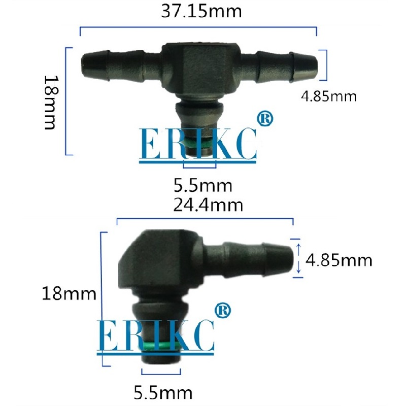 ERIKC injector Return Oil Backflow T and L Type for 110 Series Diesel CR Parts Fuel Injector Plastic 3 Two-way Joint Pipe