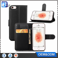 Litchi design credit card wallet stand flip leather case For iPhone 5se
