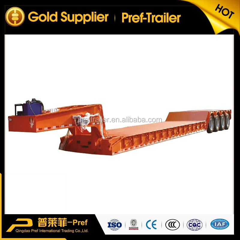 China 4 axles 80 tons low loader semi trailer/front load lowboy truck trailer/ gooseneck detachable low bed trailers for sale