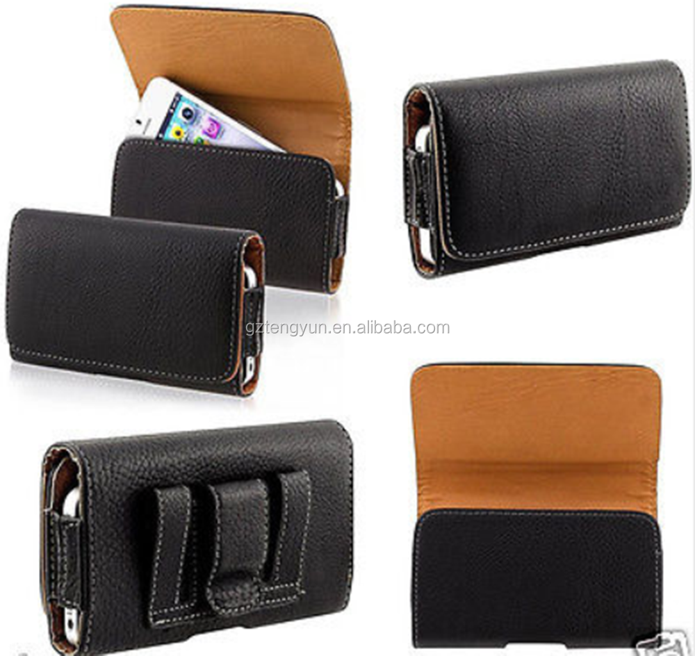 GENUINE LEATHER BLACK BELT CLIP CASE POUCH FOR APPLE iPHONES