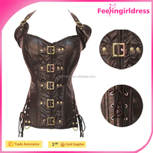 In Stock Lady Faux Leather Sweetheart Halter Neck Buckles Brown Steel Boned Corset