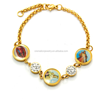 Top Seller Christians Jewelry Stainless Steel Religion Enamel Saint Mary Mother & Jesus Oval Miraculous Medal Rosary Bracelet