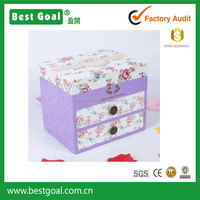2 drawer garden style wood music jewelry box with mirror