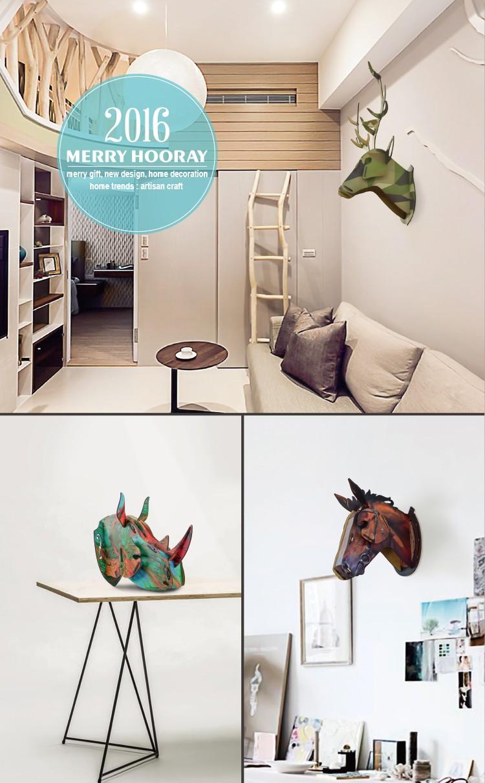 Wooden unicorn head wall decor home decor modern View home decor