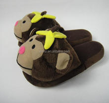2016 hot selling personalized cute plush monkey sharped indoor slippers