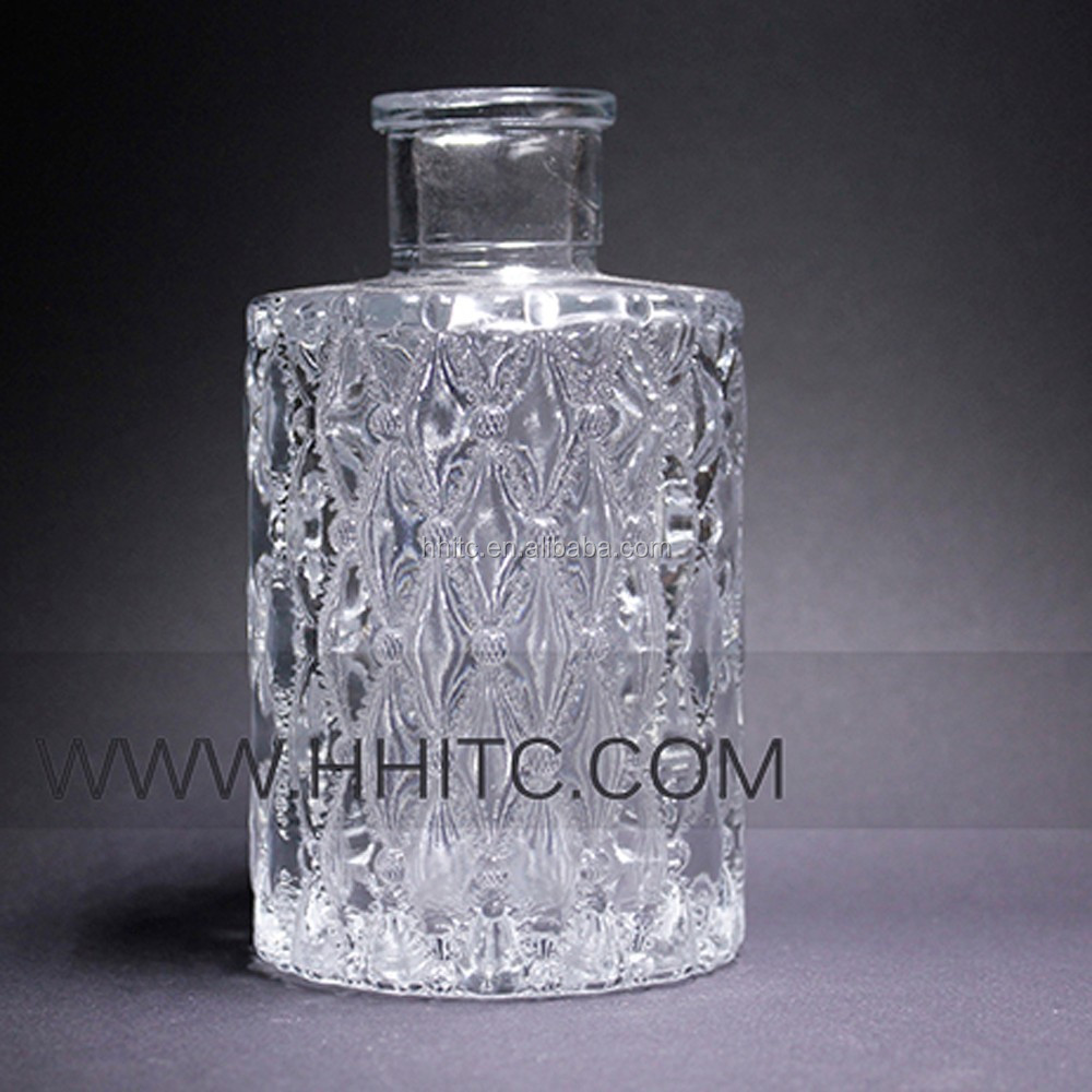 100 ml Decorated Diamond Shape Clear Perfume Reed Diffuser Glass Bottle with Cork