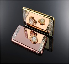 Fashion Bling Diamond Luxury Mirror Metal Ring Stand Phone Case for Iphone X/8/7/6 Soft TPU Case for iphone 7 7Plus