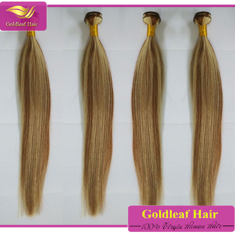2 colors mixed hair weft brown/ blonde mixed human hair extensions