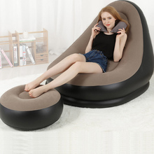 High quality fashion comfortable flocked chair PVC Flocking inflatable sofa chair with footstool