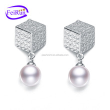 FEIRUN 7-7.5mm round AAA freshwater real pearl stone earring, korean pearl earring, 925 pearl earring