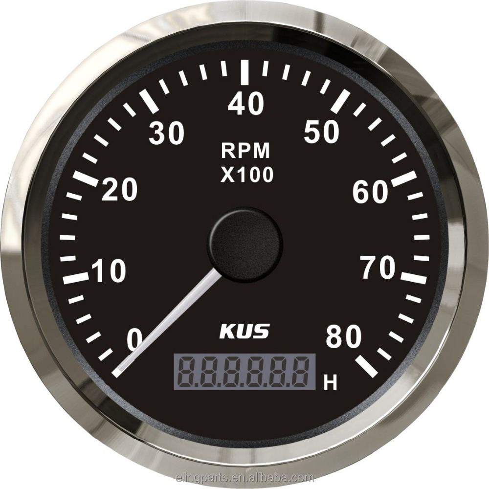 KUS Marine Tachometer Gauge With Hour meter Boat RPM Tachometer 0-8000RPM 12V/24V With Backlight
