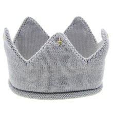 Baby Knit <strong>Crown</strong> Tiara Kids Infant Crochet Headband cap hat birthday party Photography props Beanie Bonnet