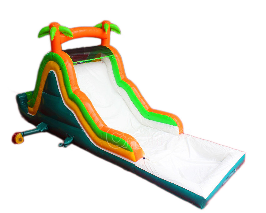 Holiday Feeling Palm Tree Outdoors Amusement Inflatable Water Slide with Swimming pool