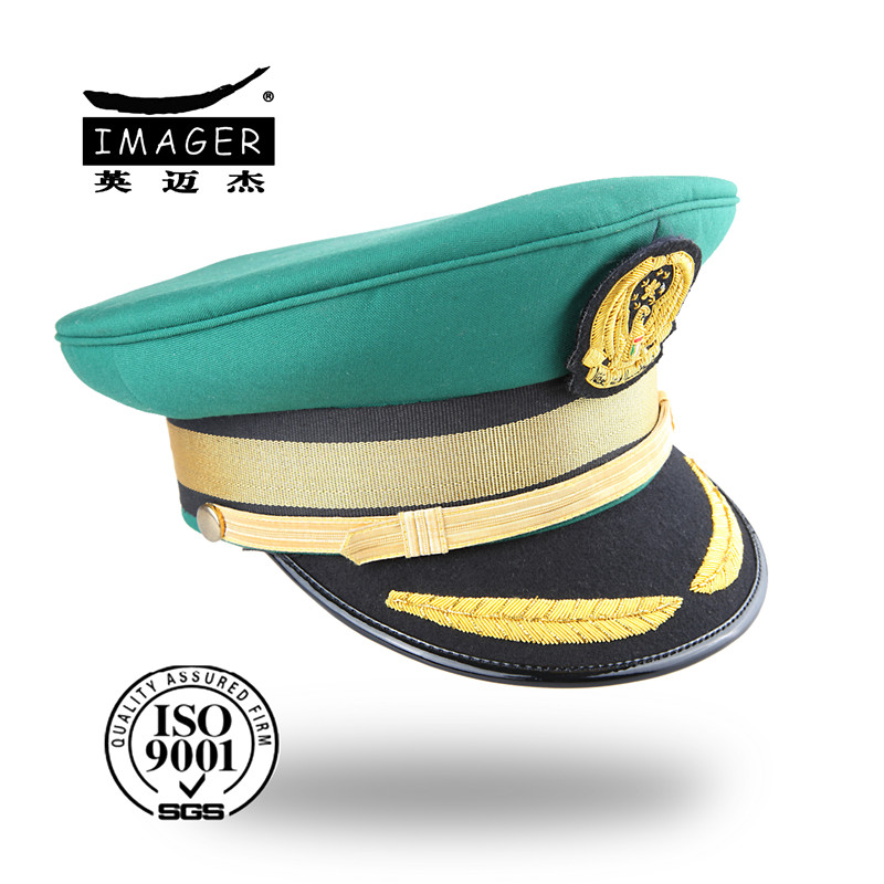 Aqua green spandex military army caps with black and gold band