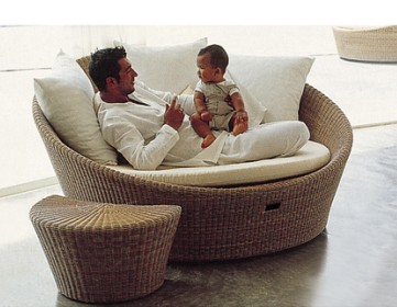 Patio Chaise Lounge Round Rattan Sun Lounger Outdoor