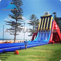 Longest 3 Lanes Inflatable Water Slide For Outdoor Summer Water Play , Sea Beach Water Slide
